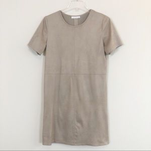 Anthropologie Matison Stone Faux Suede Dexie Dress